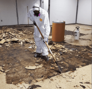 A picture of a floor being removed probably for relative humidity issues.