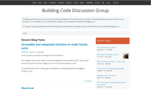 A picture of the building code discussion groups website.