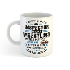 Inpector Gits - Wrestling with a pig coffe mug